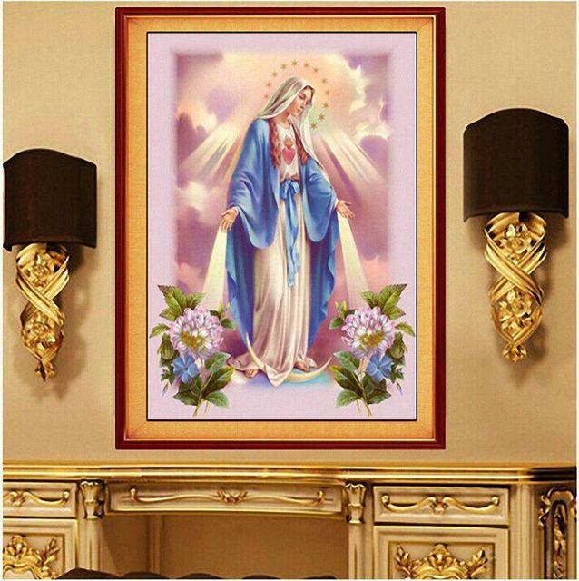 YXJD Tranh thêu chữ thập Kitô giáo Jesus Virgin Mary kim cương mới sơn DIY điểm kim cương phòng khác