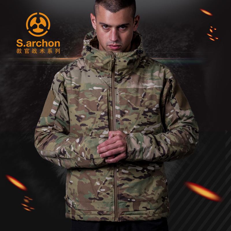 Áo nguỵ trang lính Áo khoác ngoài trời mùa đông cho nam áo gió không thấm nước ba trong một cộng với