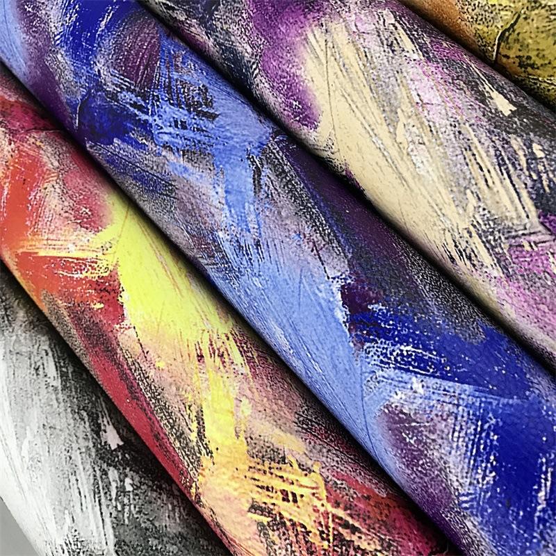 ZHONGYI Vật liệu da Nhà máy trực tiếp PU da vải sơn dầu mẫu PU da chất liệu bầu trời trang trí hoa v