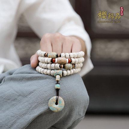 Chuỗi phật Sakura [Broken Mountain] Star Moon Bodhi Bracelet 108 Tết Nguyên đán Hạt giống hạt mật độ