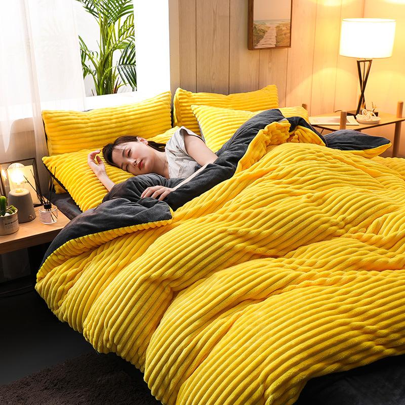 drap mền Dày lông cừu san hô giường bốn mảnh flannel flannel nhung mùa đông sữa lông cừu pha lê chăn