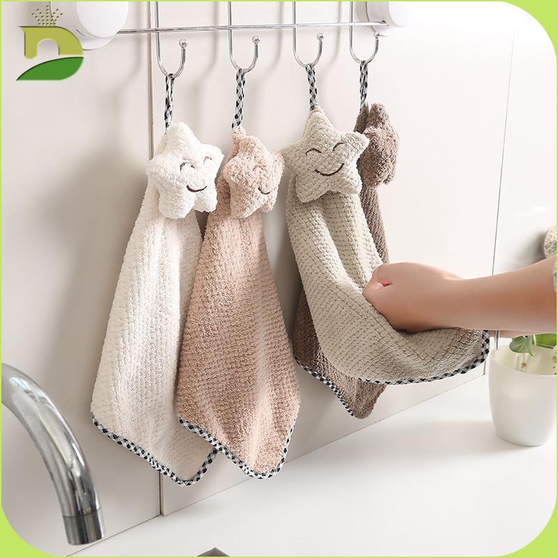 JJCC khăn lau tay Túi giúp Dino Simple Star Smiley Khăn Khăn dứa Mẫu treo khăn Nhà bếp và khăn tắm t