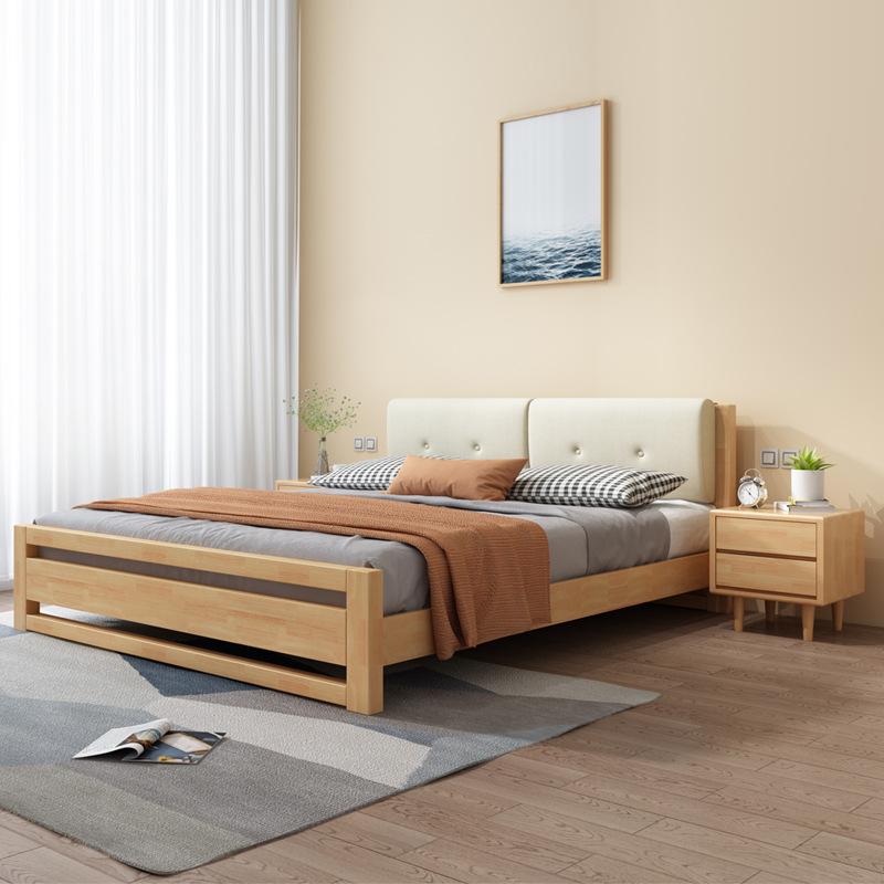 WEIHANG Giường gỗ rắn Bắc Âu căn hộ nhỏ 1,2 mét hiện đại tối giản giường đôi 1,8m phòng ngủ chính 1,