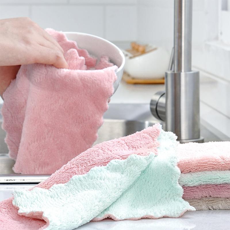 Khăn rửa chén Túi đựng đồ giúp tóc, khăn lau chén đĩa, khăn lau hai mặt, hai màu, khăn lau chén, bếp