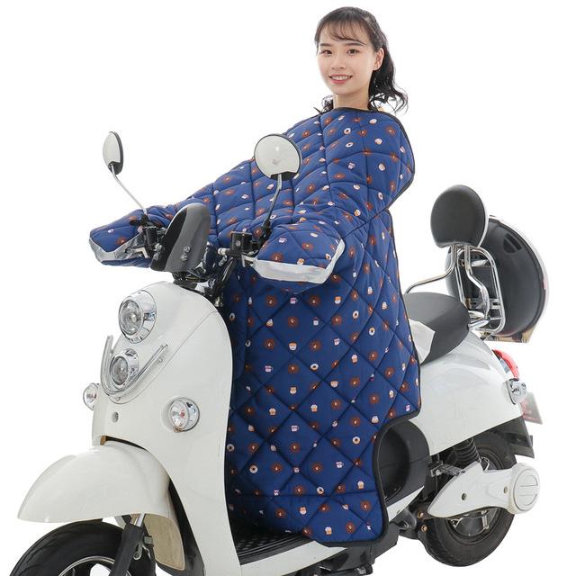 HANGNI Tấm chắn gió Ắc quy xe mùa đông cộng với nhung dày không thấm nước ấm xe máy lạnh gắn kính ch
