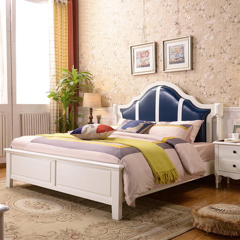 LIBUYI Giường đôi hiện đại tối giản kiểu Mỹ 1.5 1,8 mét giường gỗ nguyên khối Mỹ Hàn Quốc mục vụ bọc