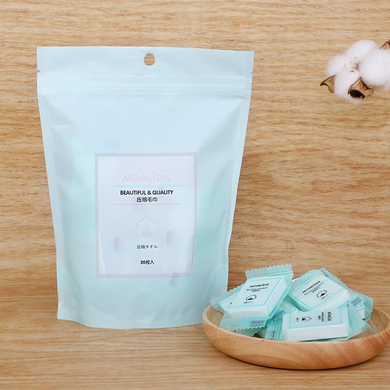 MONKIDS Khăn nén Túi giúp Moe Moe tỷ lệ dùng một lần khăn nén khăn mặt cotton dày mẫu EF du lịch 20