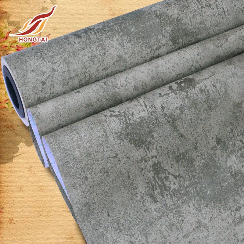 RUISHITU Giấy dán tường PVC dày tự dính hình nền không thấm nước màu xám retro xi măng hình nền trun
