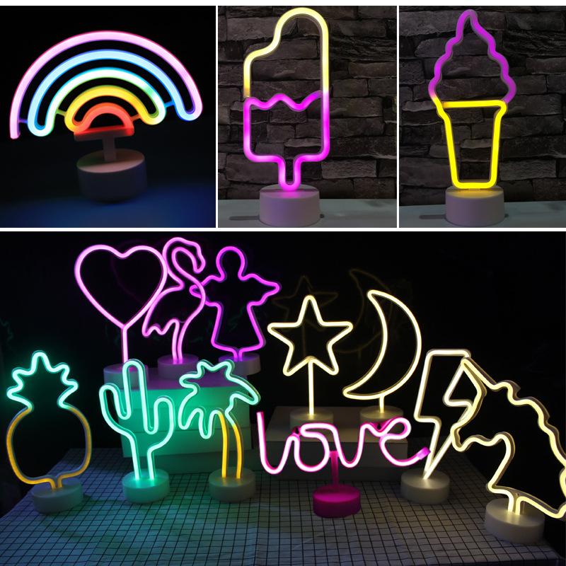 AILIXIN Đèn tường 2019 mới ins sáng tạo neon đêm ánh sáng kỳ lân cầu vồng flamingo đêm ánh sáng usb