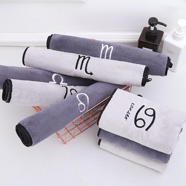 WANYU Thị trường khăn Túi giúp nhà máy trực tiếp 12 chòm sao khăn thêu microfiber khăn mềm thấm hút