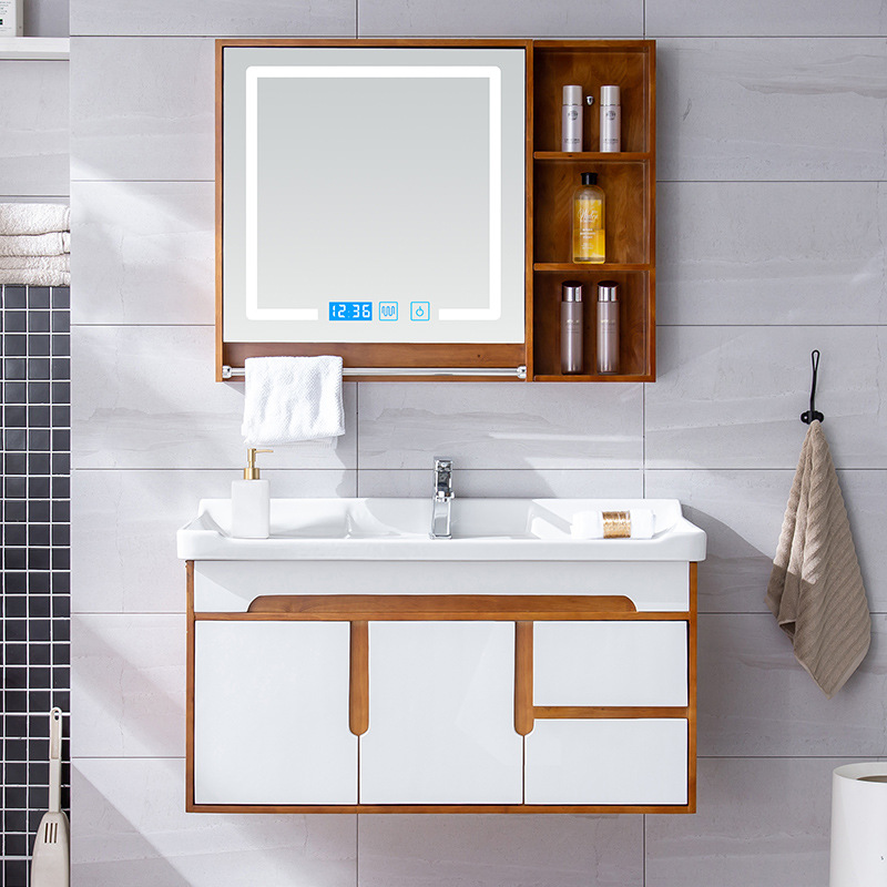 Tủ gương treo phòng tắm gỗ sồi kết hợp tủ lưu trữ thông minh .