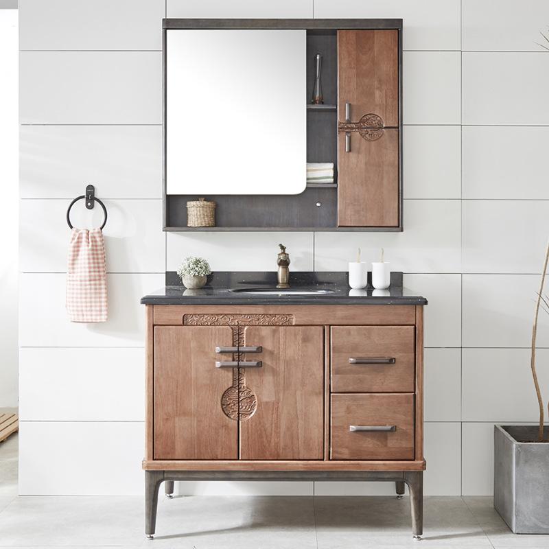 Tủ gương phòng tắm kết hợp Tủ lưu trữ kèm chậu rửa tay Mới kiểu Trung Quốc