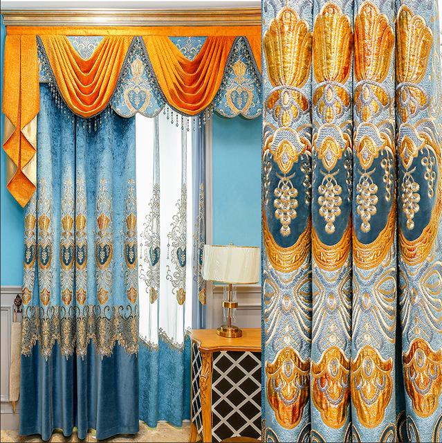 YBYJ rèm cửa sổ Túi băng đô châu Âu ánh sáng sang trọng chenille vàng lụa thêu rèm vải bán buôn phòn