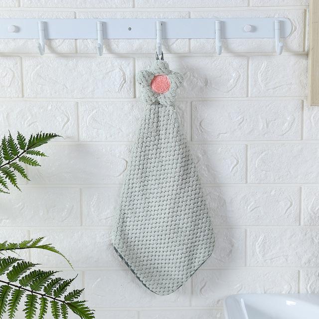 khăn lau tay Khăn nhung mềm thấm nước treo khăn dứa lưới hoa mặt trời nhà bếp khăn lau khăn treo