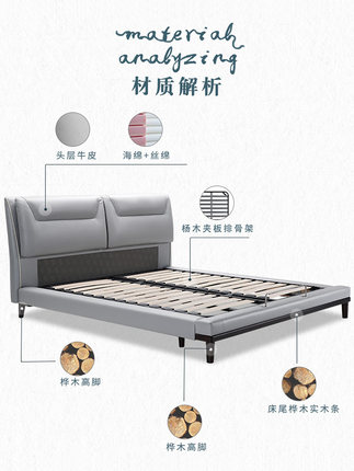 KUKa  giường  Gu nhà hiện đại tối giản giường da Bắc Âu phòng ngủ chính 1,8 mét giường da đôi B890