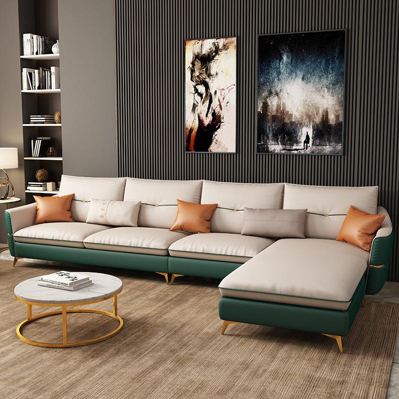 Ghế Sofa Ánh sáng sang trọng phong cách hiện đại sofa da phòng khách đơn giản căn hộ nhỏ góc chaise