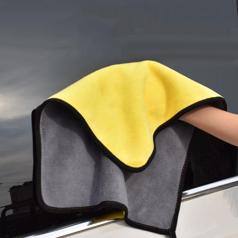 TrueFul Khăn lau xe, khăn nhung mịn thấm nước xe hơi, khăn lau xe hai mặt mật độ cao hai màu