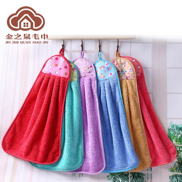 khăn lau tay Nhà sản xuất bán buôn khăn nhung dày nhà bếp khăn không dầu treo khăn lông cừu hai mặt