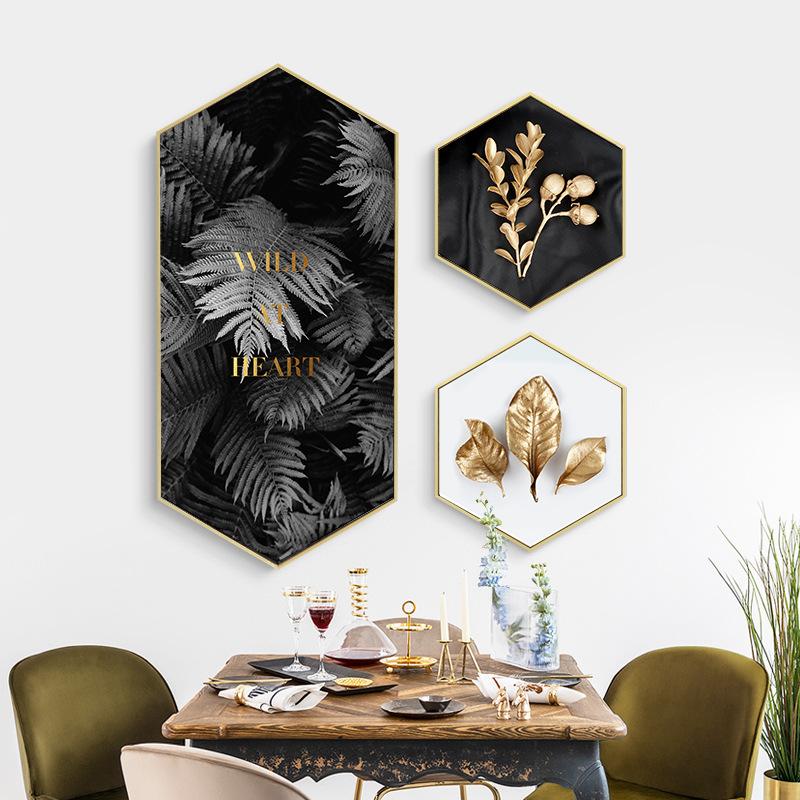 LCPY Tranh trang trí Hiện đại tối giản hình lục giác lá vàng ánh sáng sang trọng trang trí nhà hàng