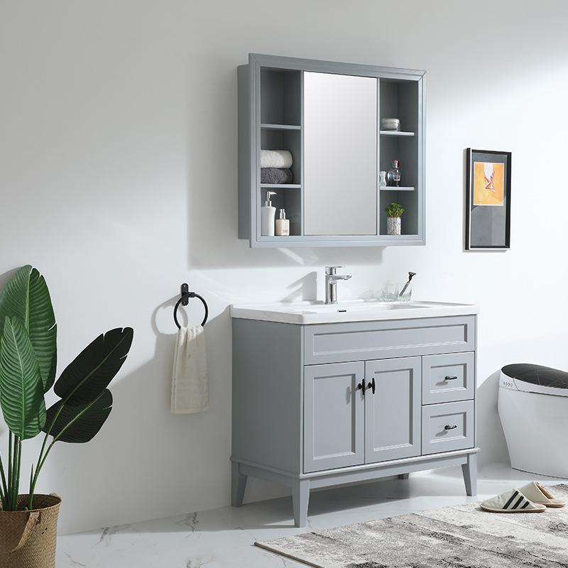 Bộ tủ gỗ vanity phòng tắm kết hợp tủ gương treo đơn giản hiện đại