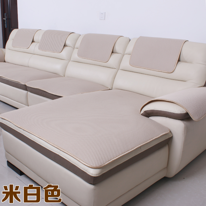 Sofa da đệm bốn mùa bọc sofa phòng khách mùa hè chống trượt kiểu dáng đơn giản châu Âu đệm dày thoán