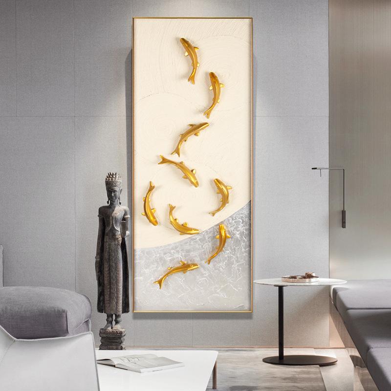 HCYX Tranh trang trí Túi tóc gang lối vào hiên trang trí tranh phong cách Trung Quốc chín cá hình ba