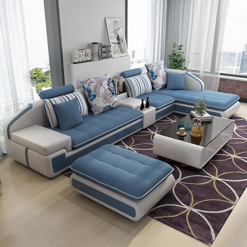 XINCHANG Ghế Sofa Sofa vải da Bắc Âu phòng khách hiện đại đơn giản hộ gia đình lớn nhỏ hình chữ L kế
