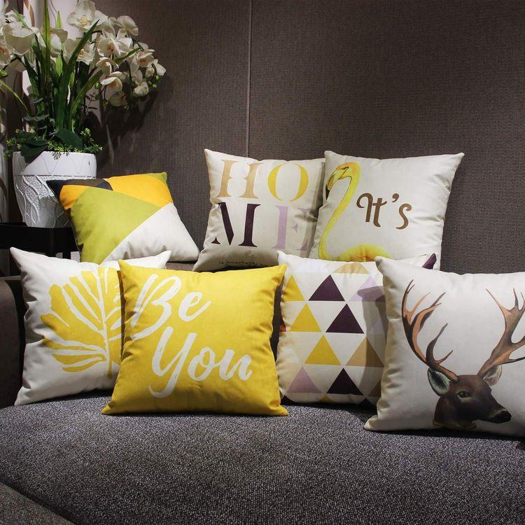 Ghế ngủ trong văn phòng xe, đồ lót dạ, sofa, bọc gối, kiểu Bắc Âu, hình học màu vàng.