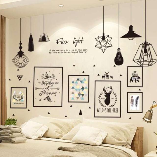 Phòng ngủ, giường, phòng khách, trang trí tường nền, giấy dán tường tự dính, dán tường, dán nhãn, dá