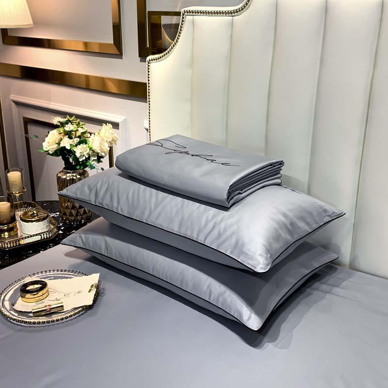 BLDS Bộ drap giường Bắc Âu Đơn giản ánh sáng sang trọng 60 Tribute Satin Plush Cotton Thêu Bốn mảnh