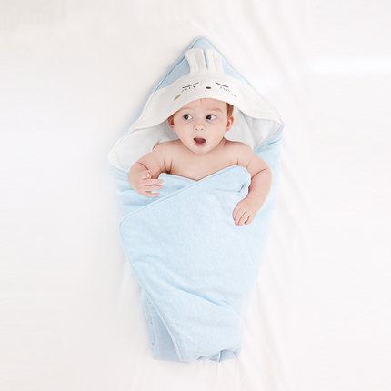 Purcotton  Khăn quấn vải bông cho trẻ sơ sinh có mũ trùm đầu