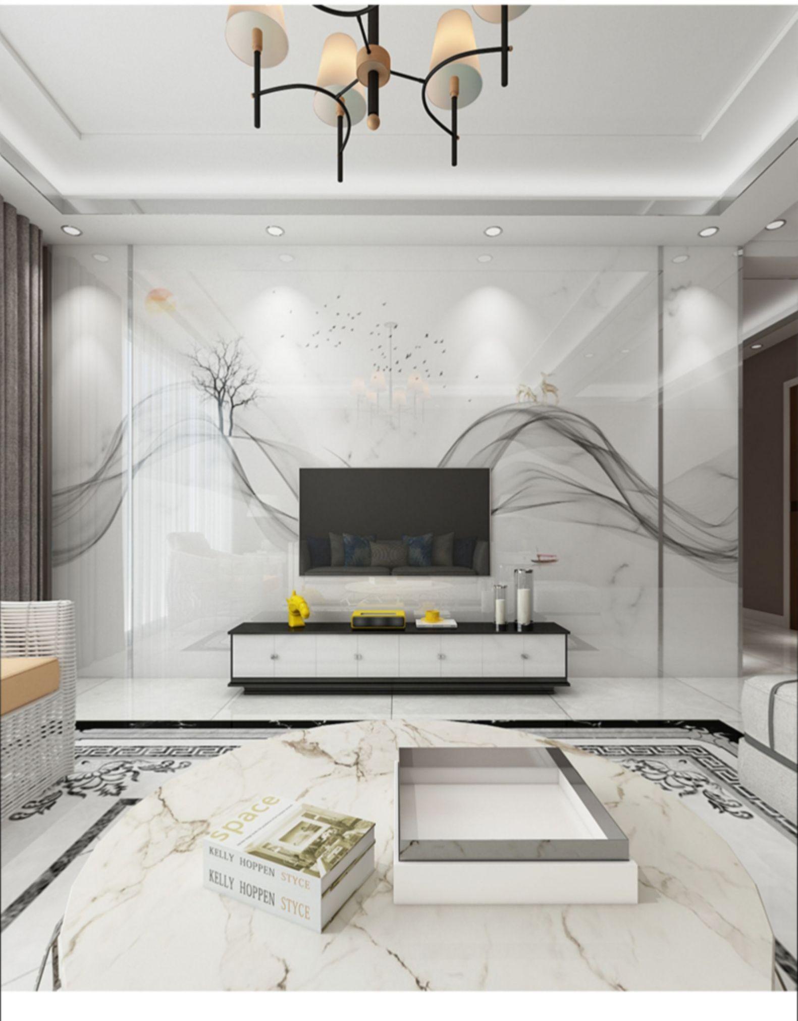 Tưởng tượng mây tinh thể đá tinh vi bức tường tường tường tường đồ gốm phòng khách mới Trung Quốc, b
