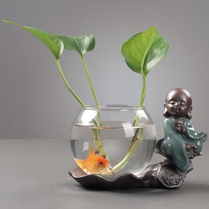 SHANGFENGYUAN Bình bông  Sáng tạo xanh thì là thủy canh cây thủy tinh trong suốt hoa bình hoa cắm ho