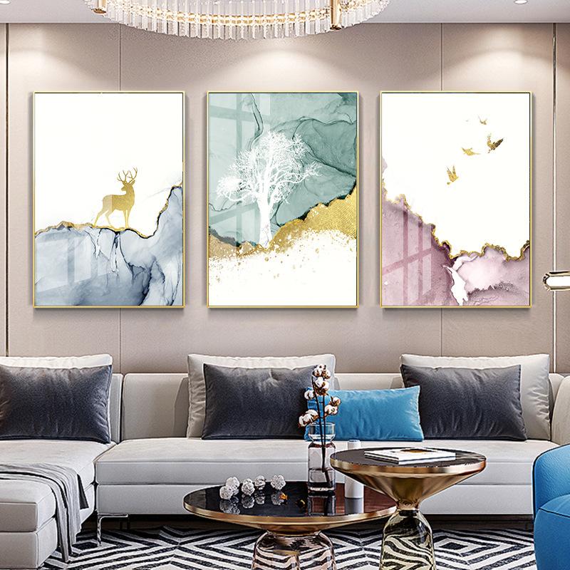QHCY Hiện đại nordic phòng khách trang trí sơn nhà hàng treo tranh trừu tượng pha lê sứ sofa sofa sơ