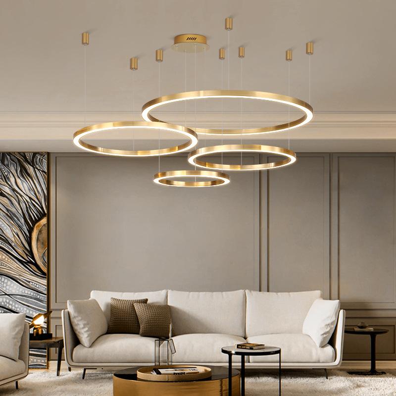 GUYI Đèn treo trần Đèn chùm phòng khách Bắc Âu tối giản hậu hiện đại không khí sáng tạo LED phòng ăn