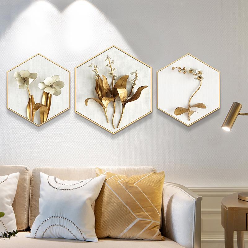 DAQIE Tranh trang trí Hiện đại tối giản nordic ánh sáng sang trọng hoa vàng hình lục giác khách sạn