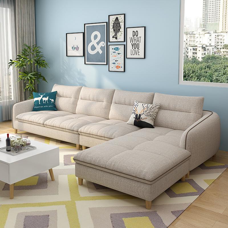 Bộ ghế sofa vải trang trí căn hộ nhỏ hiện đại tối giản phòng khách .