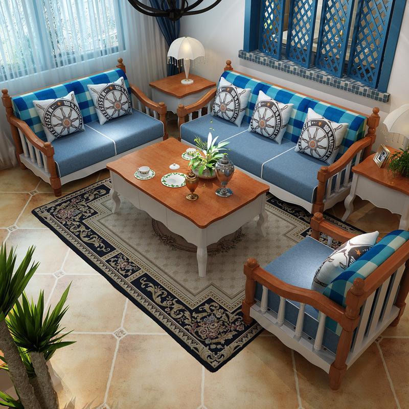 XINDING Ghế Sofa Địa Trung Hải rắn gỗ nghệ thuật kết hợp đất nước nông thôn Mỹ vải sofa đơn sofa nhỏ
