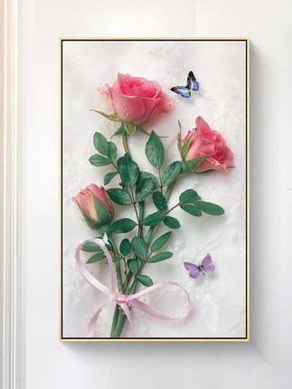 Tranh thêu chữ thập  Hoa hồng thêu chữ thập 2019 mới thêu phòng khách nhỏ thêu không đầy đủ thêu riê