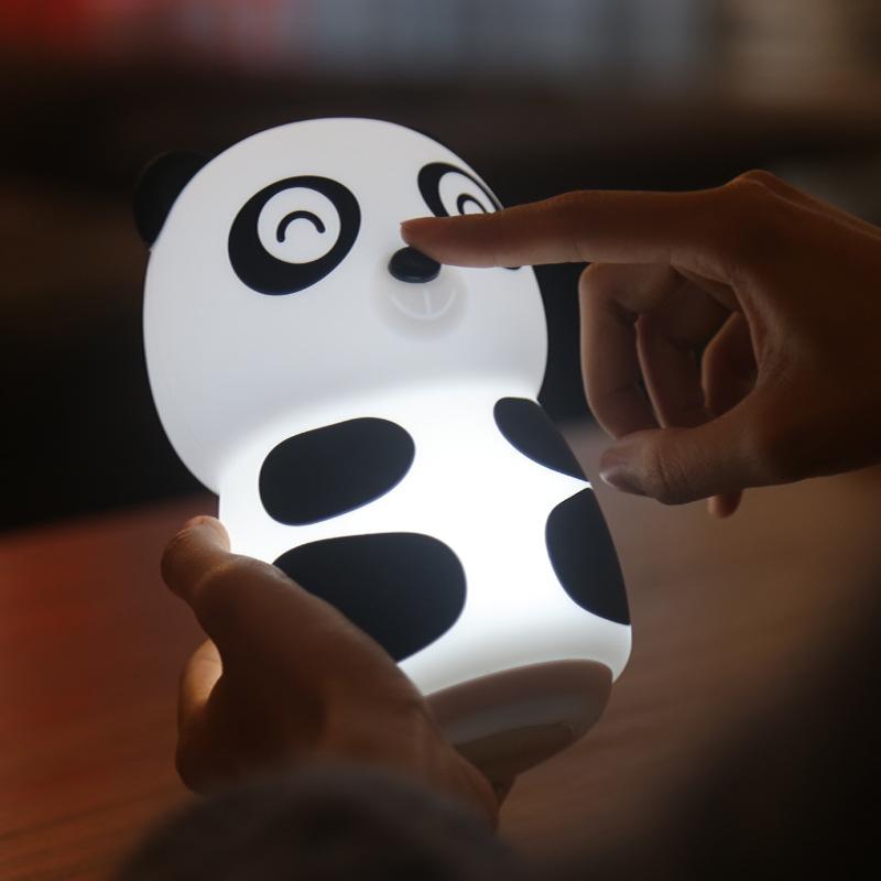 Silico fun Phim hoạt hình gấu trúc đêm silicone sáng tạo giấc mơ đèn bàn phòng ngủ có thể sạc lại đè