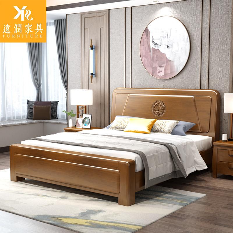 YUANRUN giường Trung Quốc hiện đại giường gỗ rắn cao áp 1,8m giường hộp bộ đồ nội thất phòng ngủ chí