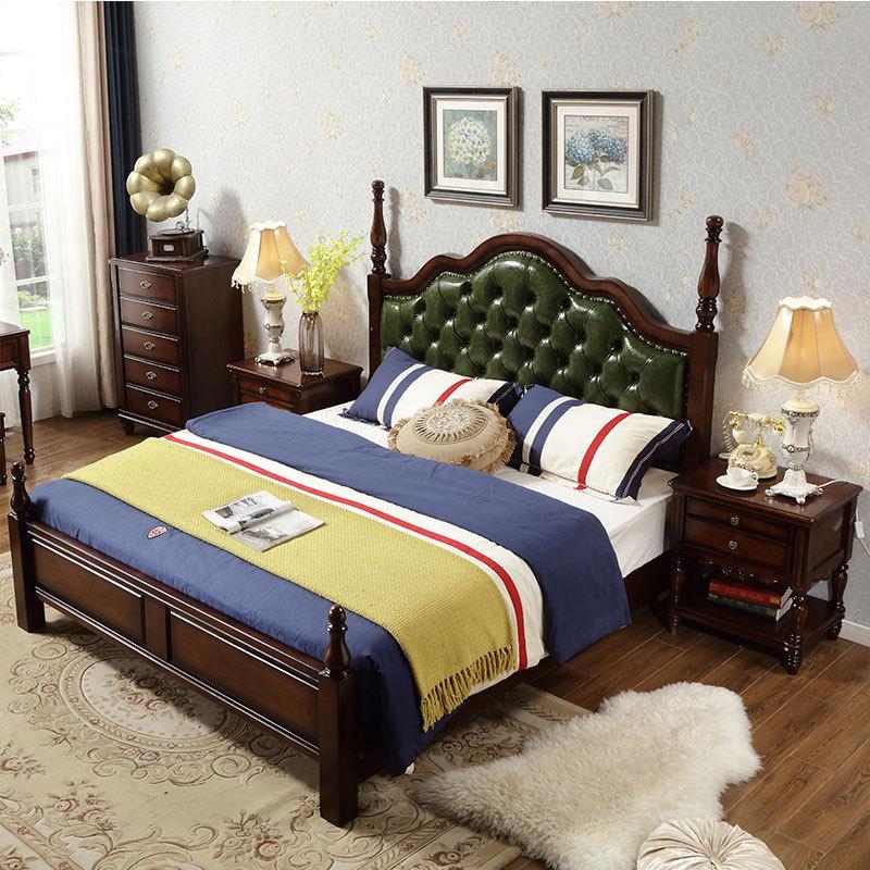 LEMILA Giường gỗ nguyên khối Mỹ phong cách da mềm 1,8m giường đôi chính phòng ngủ gỗ sồi nghệ thuật
