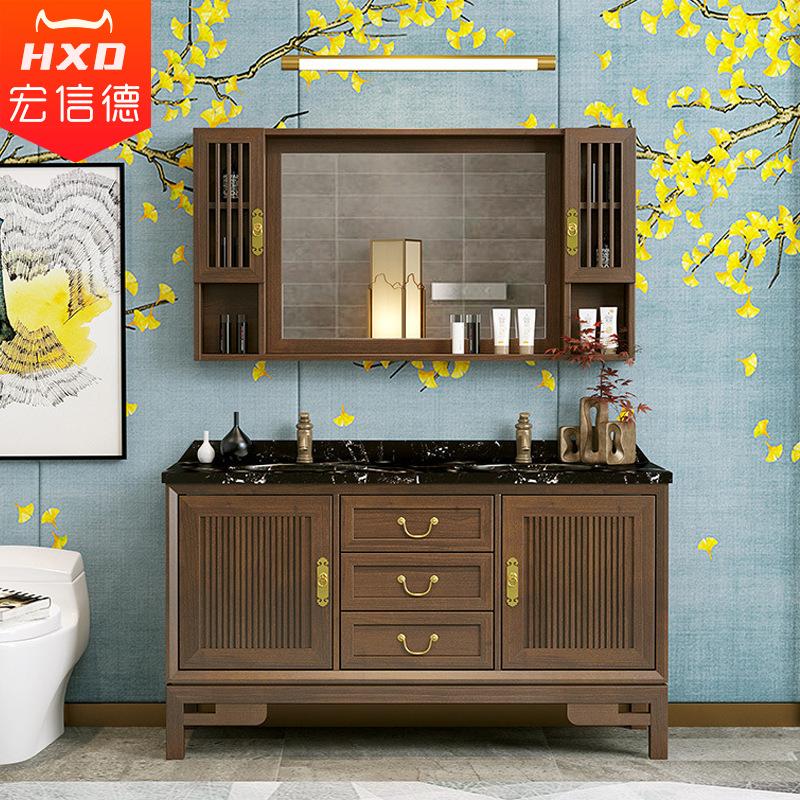 Bộ Tủ gương kết hợp Tủ lưu trữ để sàn chậu rửa bằng gỗ cho phòng tắm .