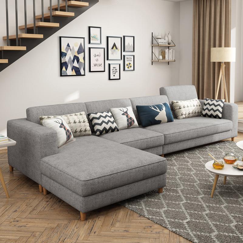 Bộ ghế sofa cho phòng khách kiểu L bề mặt Bằng vải .