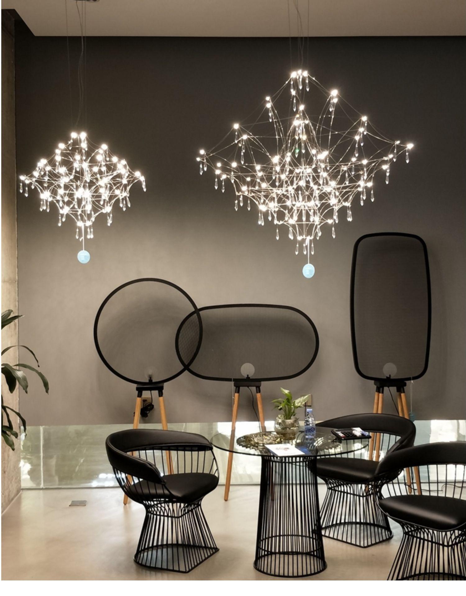 Đèn treo trần Đèn chùm pha lê phòng khách ăn uống ánh sáng đèn bàn hiện đại tối giản ánh sáng lưới đ