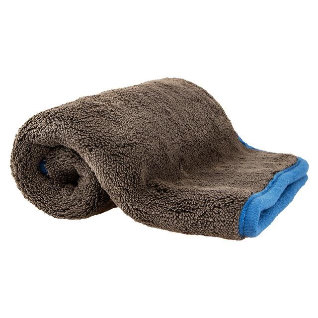 FENGJIE Khăn lau xe Túi giúp 1200GSM composite lông cừu san hô dày thấm nước rửa xe khăn màu xám hai
