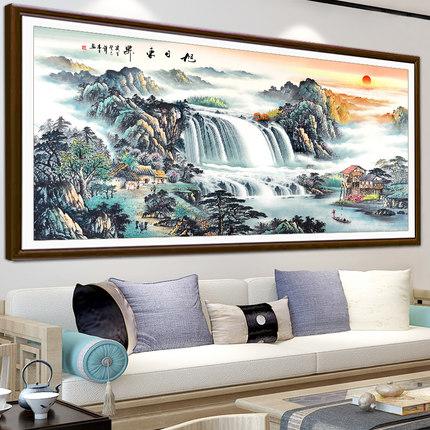 Ji Hongxiu Tranh thêu chữ thập  Dòng nước và sự giàu có đan chéo 2019 mới thêu dòng phòng khách thêu