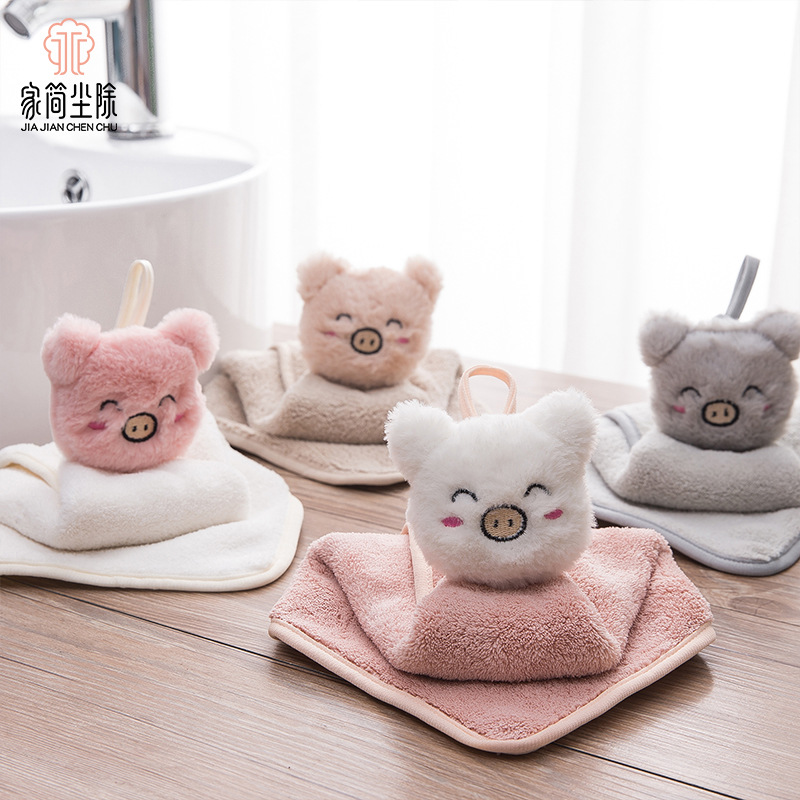 JJCC khăn lau tay 2019 nhà mới mềm dễ thương lợn lau khăn bếp khăn tay sáng tạo dễ thương thú cưng d