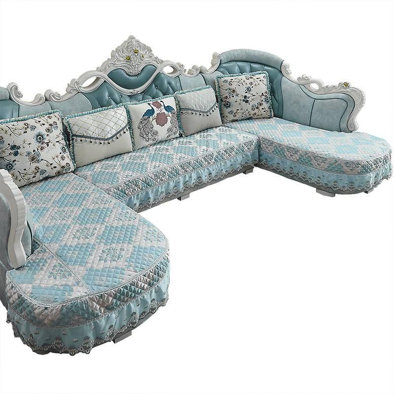 Ghế sofa kiểu châu Âu, ghế sofa chống vải hình khối U, không trượt, tự làm, hè đơn giản Châu Âu