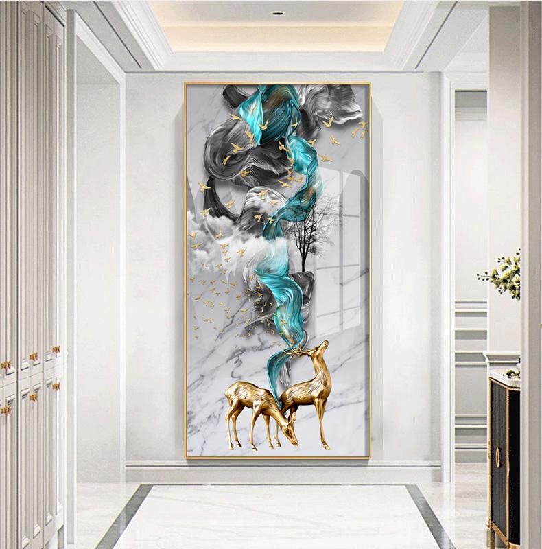 Tranh trang trí Ánh sáng xa xỉ, hươu giàu có đi vào cổng, sơn trang trí, đĩa đứng, hành lang, phòng